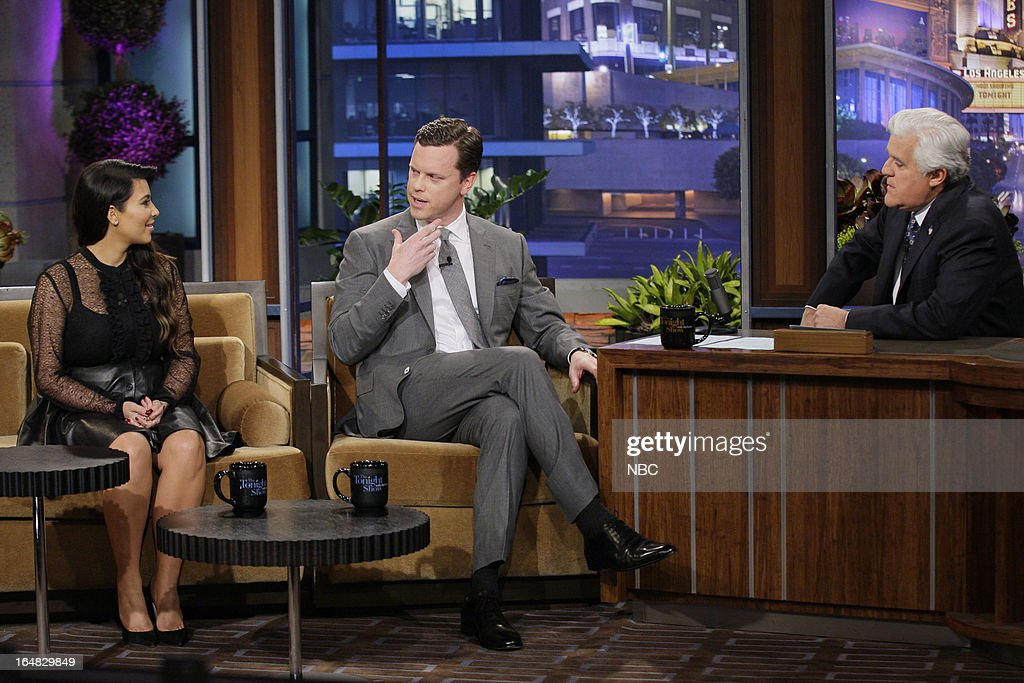 Kim Kardashian, Willie Geist during an interview with host Jay Leno on March 28, 2013 --