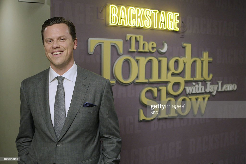 LENO -- (EXCLUSIVE COVERAGE) -- Episode 4434 -- Pictured: Willie Geist backstage on March 28, 2013 --