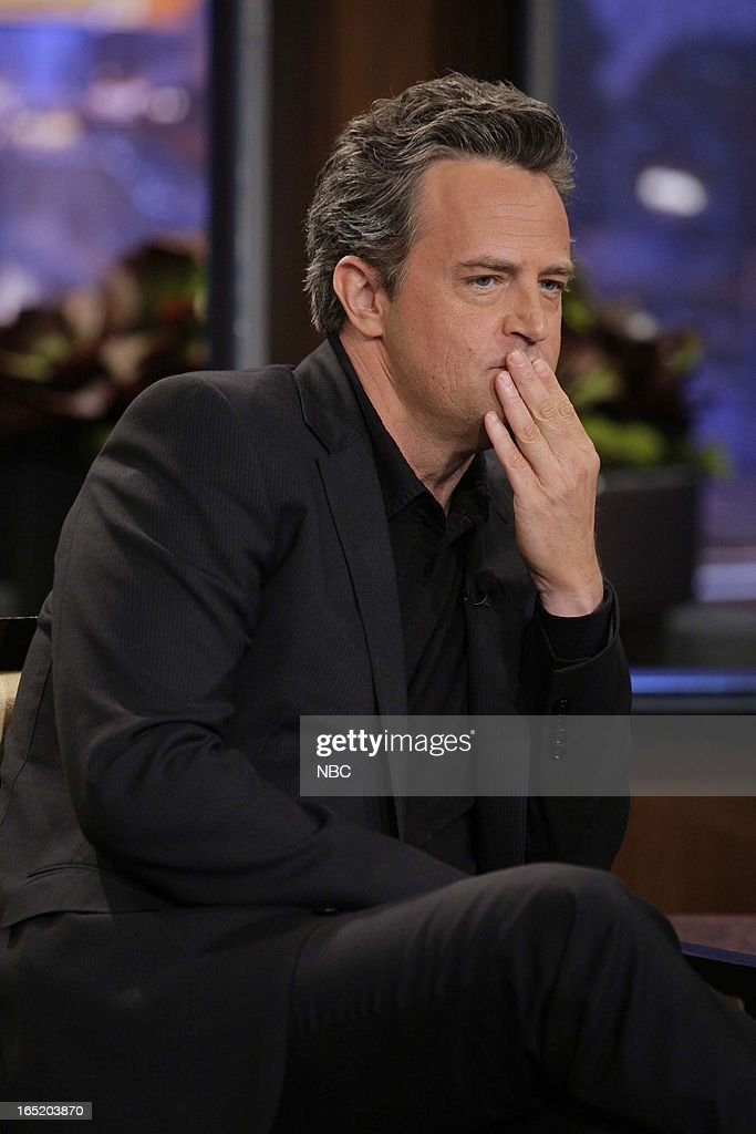 Actor <a gi-track='captionPersonalityLinkClicked' href=/galleries/search?phrase=Matthew+Perry&family=editorial&specificpeople=202851 ng-click='$event.stopPropagation()'>Matthew Perry</a> during an interview on April 1, 2013 --