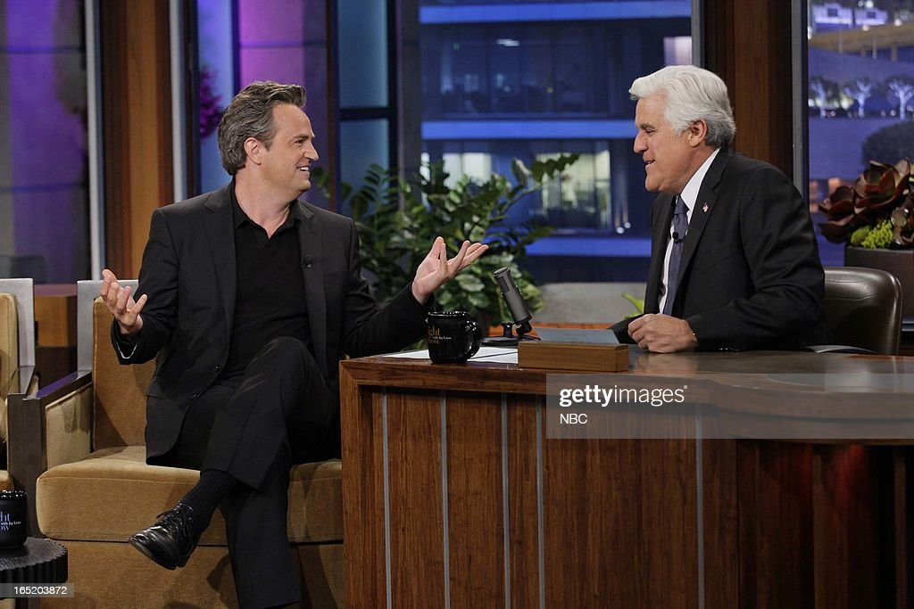 Actor <a gi-track='captionPersonalityLinkClicked' href=/galleries/search?phrase=Matthew+Perry&family=editorial&specificpeople=202851 ng-click='$event.stopPropagation()'>Matthew Perry</a> during an interview with host Jay Leno on April 1, 2013 --