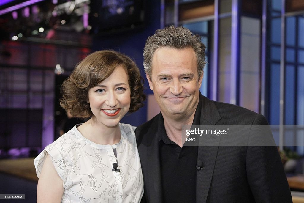 LENO -- (EXCLUSIVE COVERAGE) -- Episode 4435 -- Pictured: (l-r) Actress <a gi-track='captionPersonalityLinkClicked' href=/galleries/search?phrase=Kristen+Schaal&family=editorial&specificpeople=2479209 ng-click='$event.stopPropagation()'>Kristen Schaal</a> and actor <a gi-track='captionPersonalityLinkClicked' href=/galleries/search?phrase=Matthew+Perry&family=editorial&specificpeople=202851 ng-click='$event.stopPropagation()'>Matthew Perry</a> on April 1, 2013 --