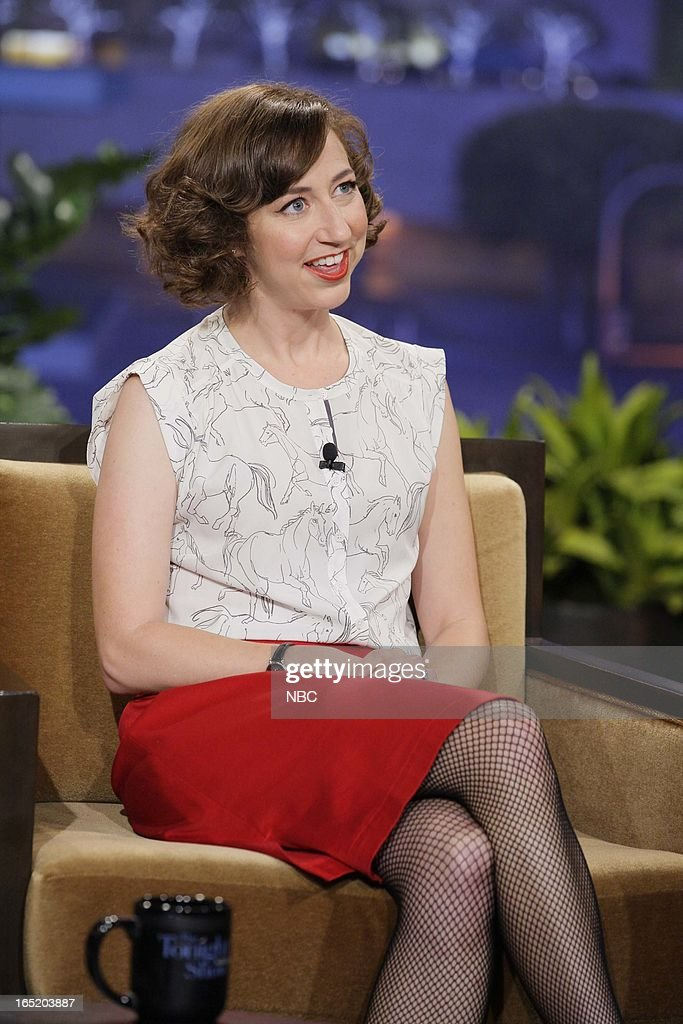 Actress <a gi-track='captionPersonalityLinkClicked' href=/galleries/search?phrase=Kristen+Schaal&family=editorial&specificpeople=2479209 ng-click='$event.stopPropagation()'>Kristen Schaal</a> during an interview on April 1, 2013 --