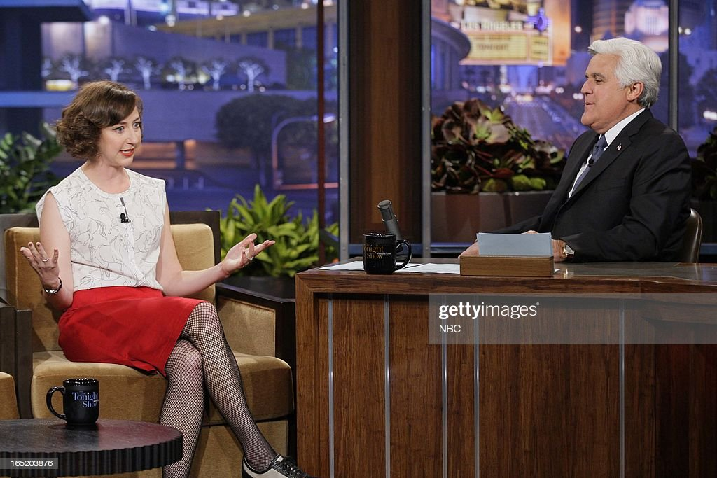 Actress <a gi-track='captionPersonalityLinkClicked' href=/galleries/search?phrase=Kristen+Schaal&family=editorial&specificpeople=2479209 ng-click='$event.stopPropagation()'>Kristen Schaal</a> during an interview with host Jay Leno on April 1, 2013 --