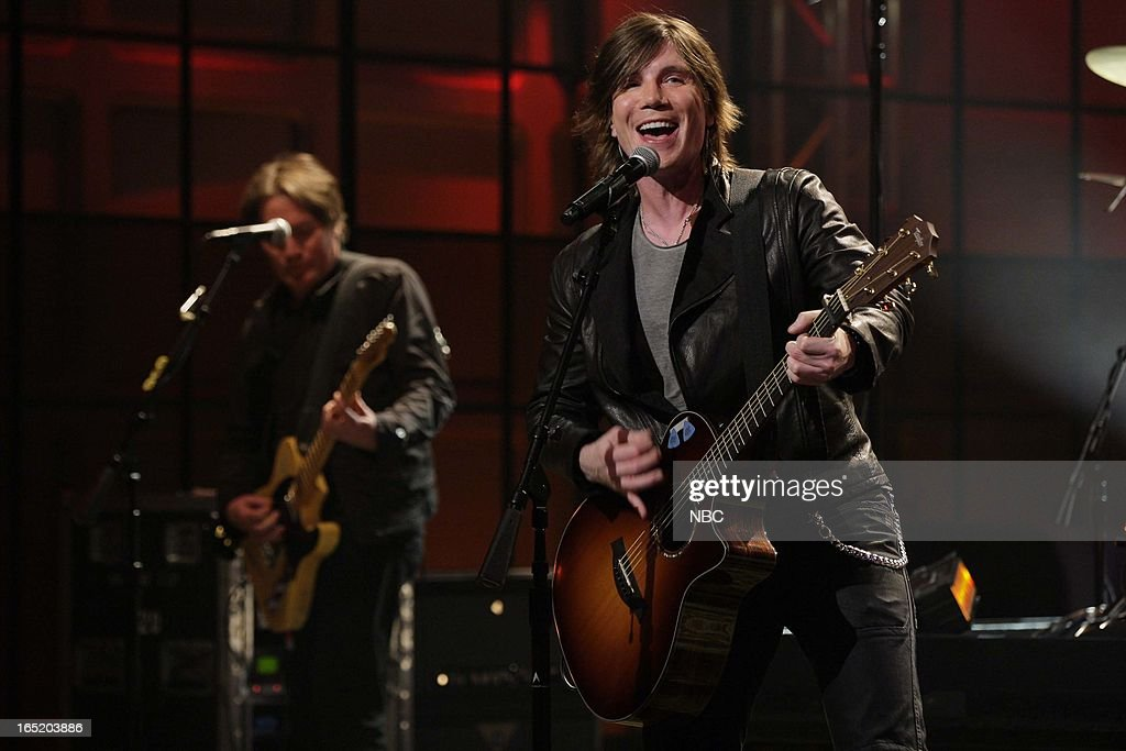 <a gi-track='captionPersonalityLinkClicked' href=/galleries/search?phrase=John+Rzeznik&family=editorial&specificpeople=220876 ng-click='$event.stopPropagation()'>John Rzeznik</a> of musical guest the Goo Goo Dolls performs on April 1, 2013 --