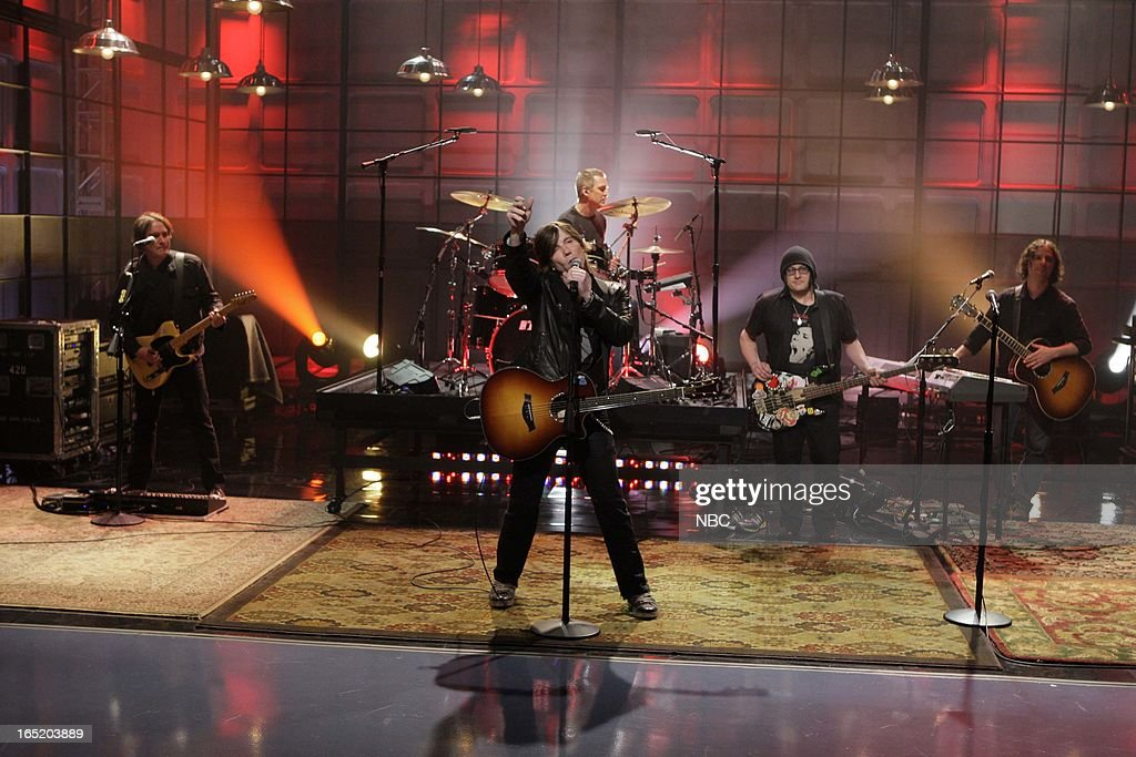 John Rzeznik, Robby Takac and Mike Malinin of musical guests the Goo Goo Dolls perform on April 1, 2013 --