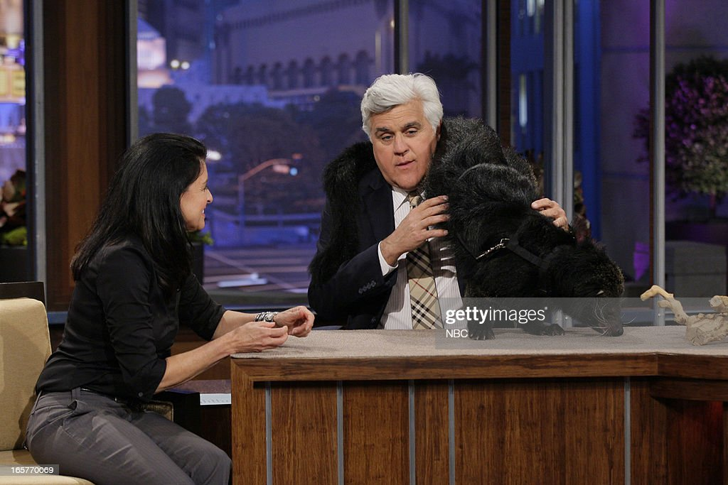 Animal expert Julie Scardina with a binturong during an interview with host Jay Leno on April 5, 2013 --
