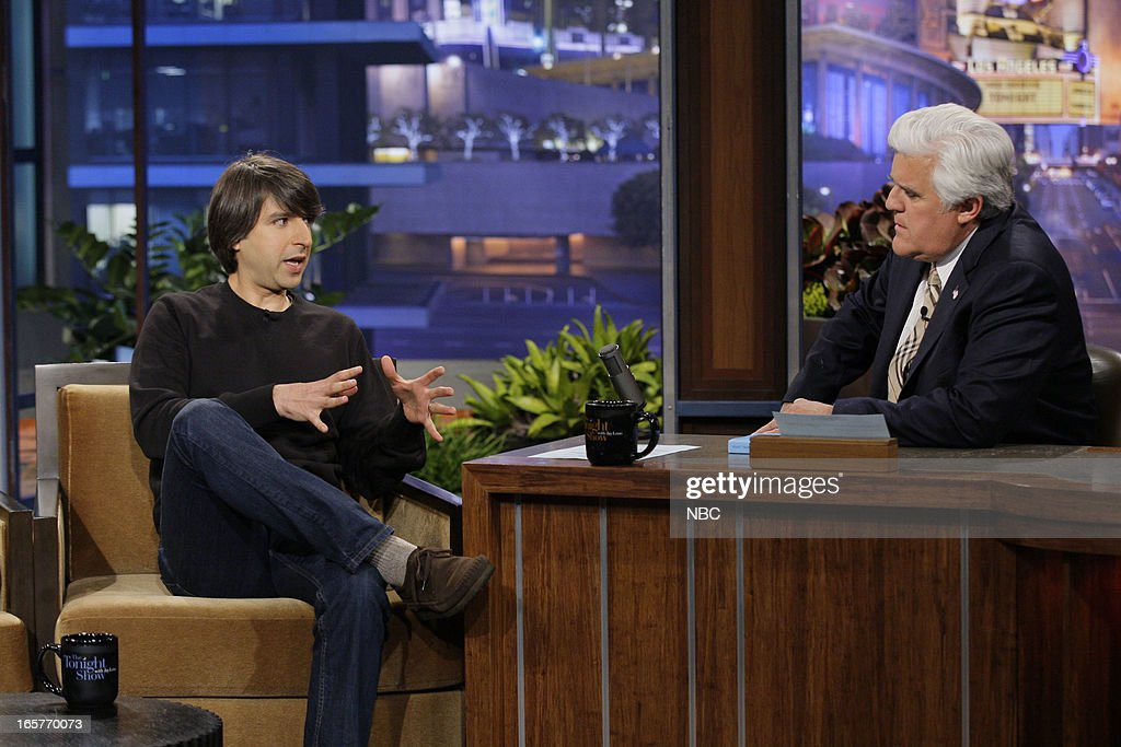 Comedian Demetri Martin during an interview with host Jay Leno on April 5, 2013 --