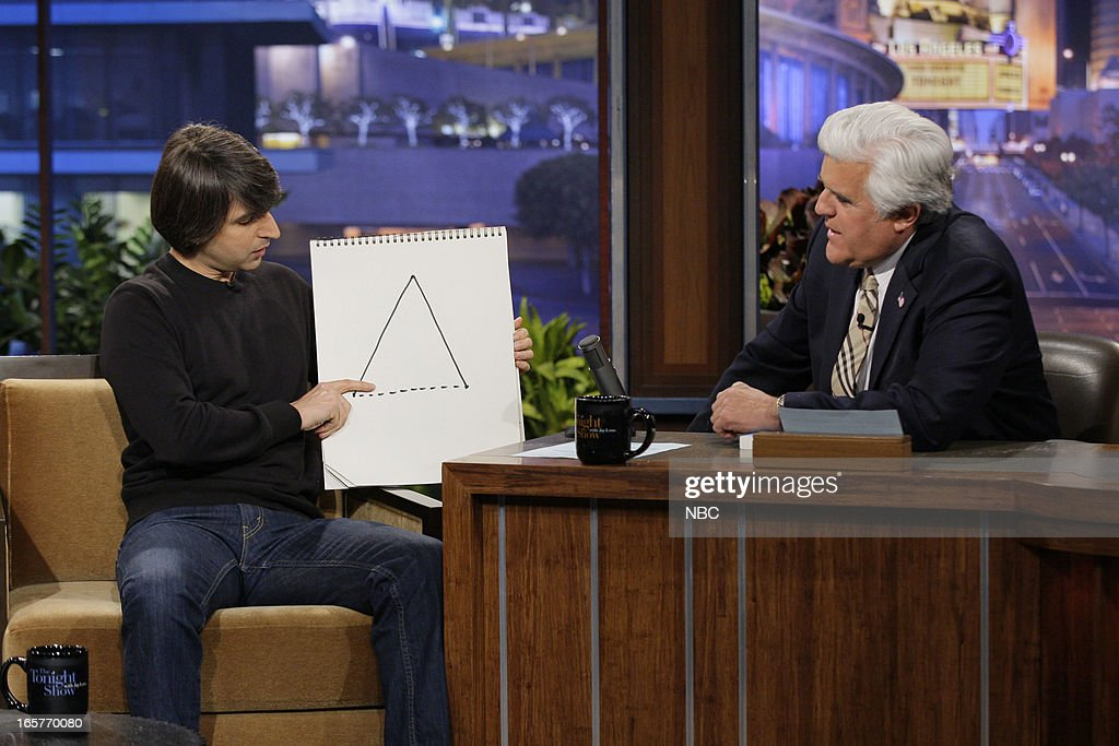Comedian <a gi-track='captionPersonalityLinkClicked' href=/galleries/search?phrase=Demetri+Martin&family=editorial&specificpeople=3106299 ng-click='$event.stopPropagation()'>Demetri Martin</a> during an interview with host Jay Leno on April 5, 2013 --