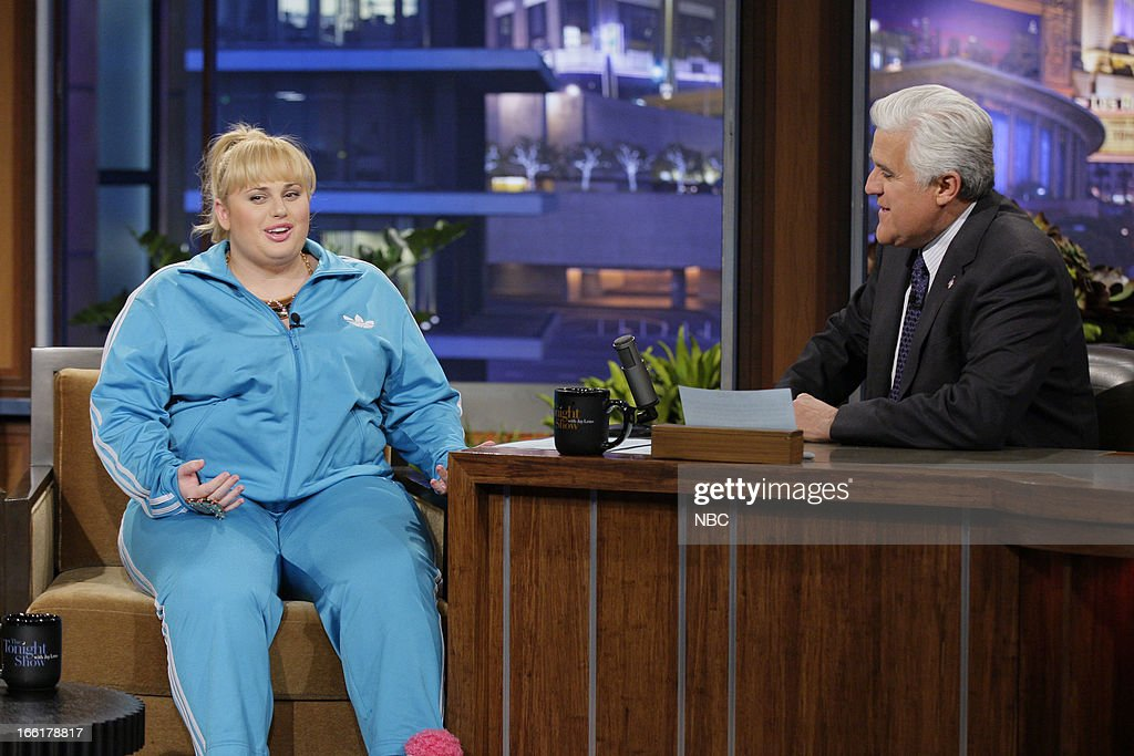 Actress <a gi-track='captionPersonalityLinkClicked' href=/galleries/search?phrase=Rebel+Wilson&family=editorial&specificpeople=5563104 ng-click='$event.stopPropagation()'>Rebel Wilson</a> during an interview with host Jay Leno on April 9, 2013 --