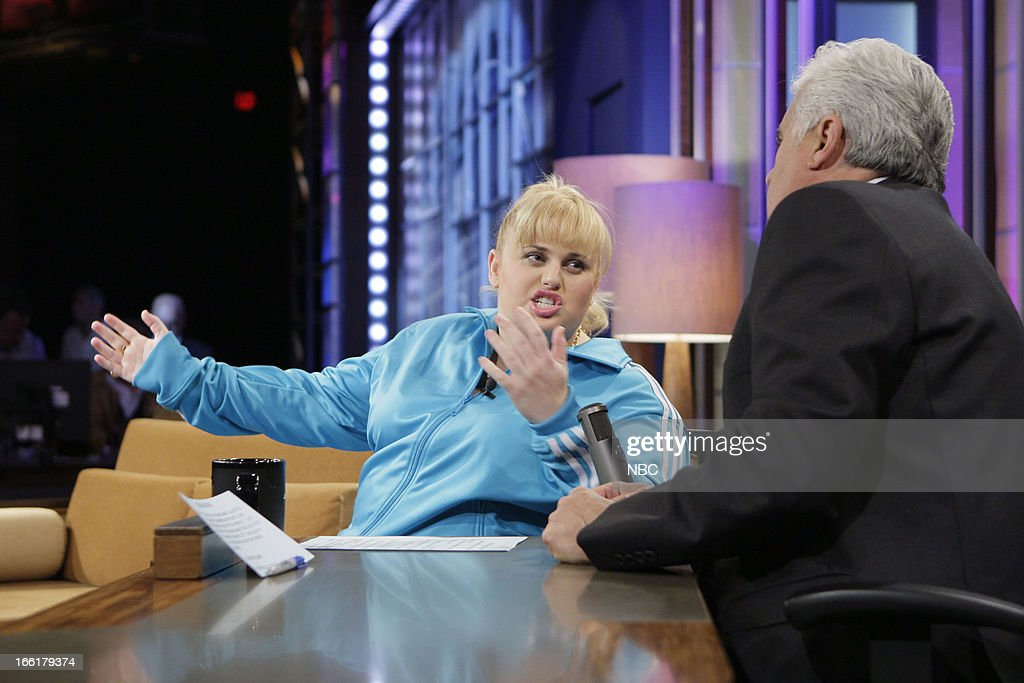 LENO -- (EXCLUSIVE COVERAGE) -- Episode 4441 -- Pictured: (l-r) Actress <a gi-track='captionPersonalityLinkClicked' href=/galleries/search?phrase=Rebel+Wilson&family=editorial&specificpeople=5563104 ng-click='$event.stopPropagation()'>Rebel Wilson</a> talks with host Jay Leno during a commercial break on April 9, 2013 --