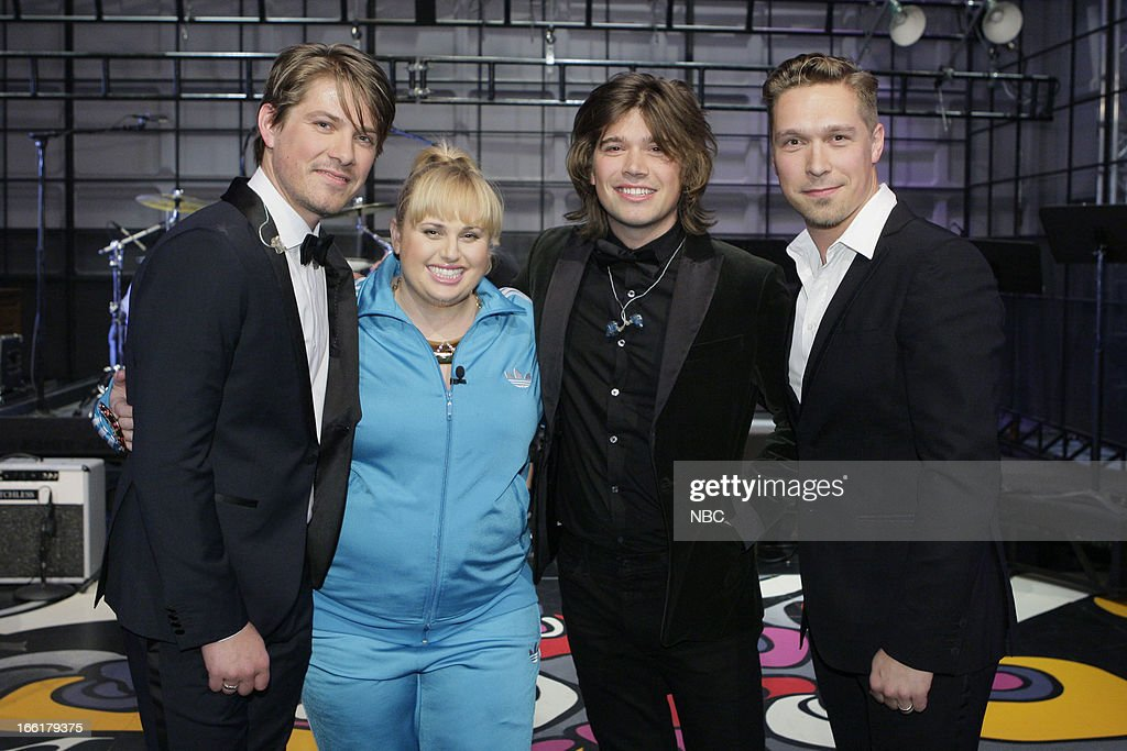 LENO -- (EXCLUSIVE COVERAGE) -- Episode 4441 -- Pictured: (l-r) Taylor Hanson, Zac Hanson and Isaac Hanson with actress Rebel Wilson (second from left) on April 9, 2013 --