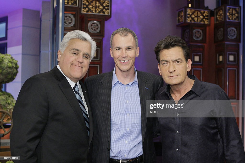 LENO -- (EXCLUSIVE COVERAGE) -- Episode 4442 -- Pictured: (l-r) Host Jay Leno, college basketball coach <a gi-track='captionPersonalityLinkClicked' href=/galleries/search?phrase=Andy+Enfield&family=editorial&specificpeople=5624033 ng-click='$event.stopPropagation()'>Andy Enfield</a> and actor <a gi-track='captionPersonalityLinkClicked' href=/galleries/search?phrase=Charlie+Sheen&family=editorial&specificpeople=206152 ng-click='$event.stopPropagation()'>Charlie Sheen</a> on April 10, 2013 --