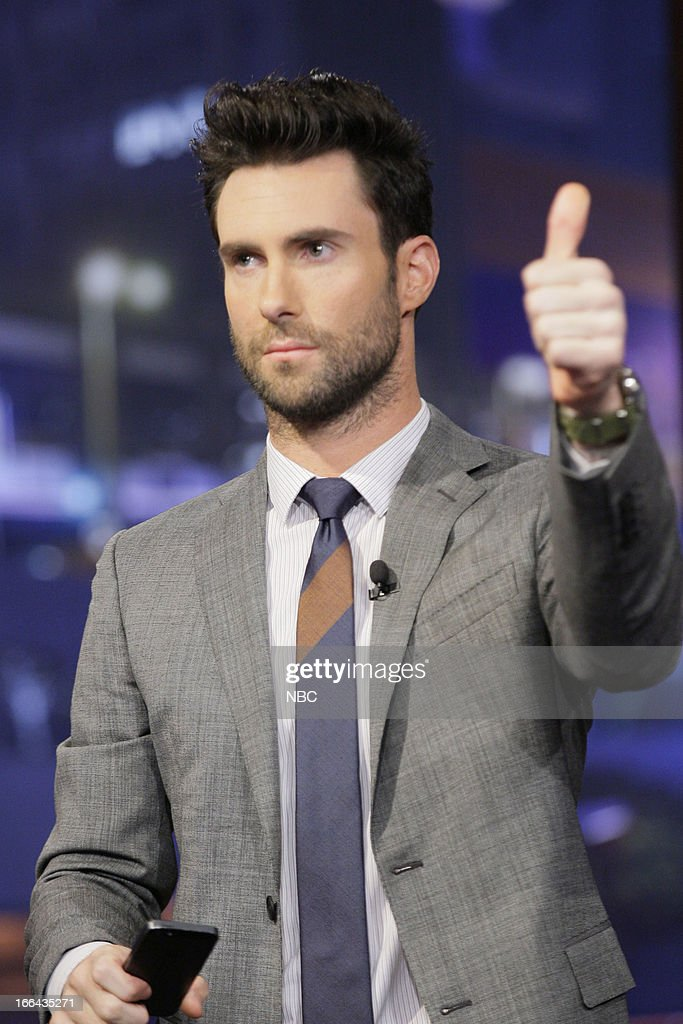 LENO -- (EXCLUSIVE COVERAGE) -- Episode 4444 -- Pictured: <a gi-track='captionPersonalityLinkClicked' href=/galleries/search?phrase=Adam+Levine+-+Singer&family=editorial&specificpeople=202962 ng-click='$event.stopPropagation()'>Adam Levine</a> during a commercial break on April 12, 2013 --