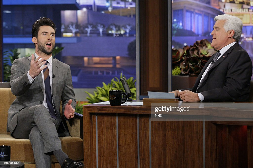 <a gi-track='captionPersonalityLinkClicked' href=/galleries/search?phrase=Adam+Levine+-+Singer&family=editorial&specificpeople=202962 ng-click='$event.stopPropagation()'>Adam Levine</a> during an interview with host Jay Leno on April 12, 2013 --