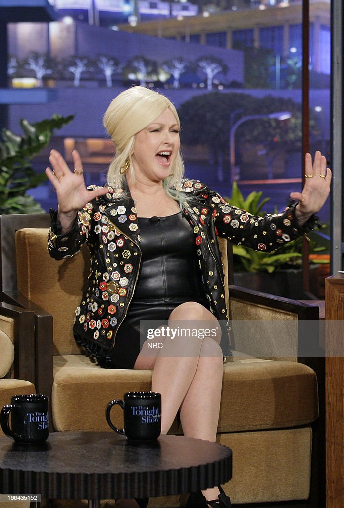 <a gi-track='captionPersonalityLinkClicked' href=/galleries/search?phrase=Cyndi+Lauper&family=editorial&specificpeople=171290 ng-click='$event.stopPropagation()'>Cyndi Lauper</a> during an interview with host Jay Leno on April 12, 2013 --