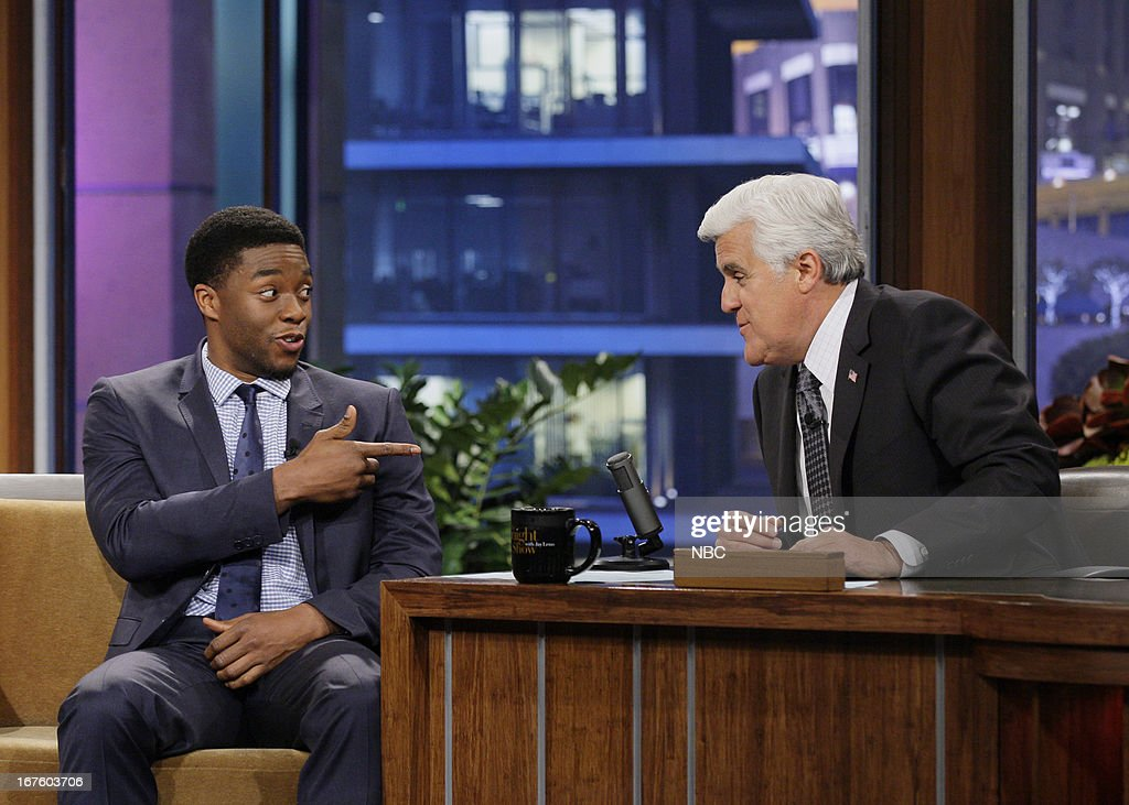 Actor Chadwick Boseman during an interview with host Jay Leno on April 26, 2013 --