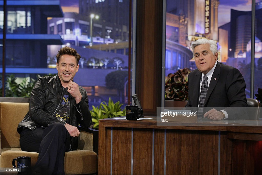 Actor <a gi-track='captionPersonalityLinkClicked' href=/galleries/search?phrase=Robert+Downey+Jr.&family=editorial&specificpeople=204137 ng-click='$event.stopPropagation()'>Robert Downey Jr.</a> during an interview with host Jay Leno on April 26, 2013 --