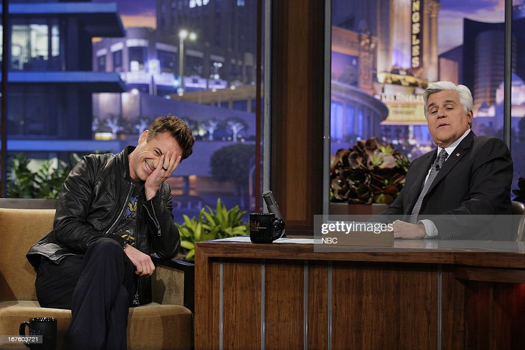 Actor Robert Downey Jr. during an interview with host Jay Leno on April 26, 2013 --