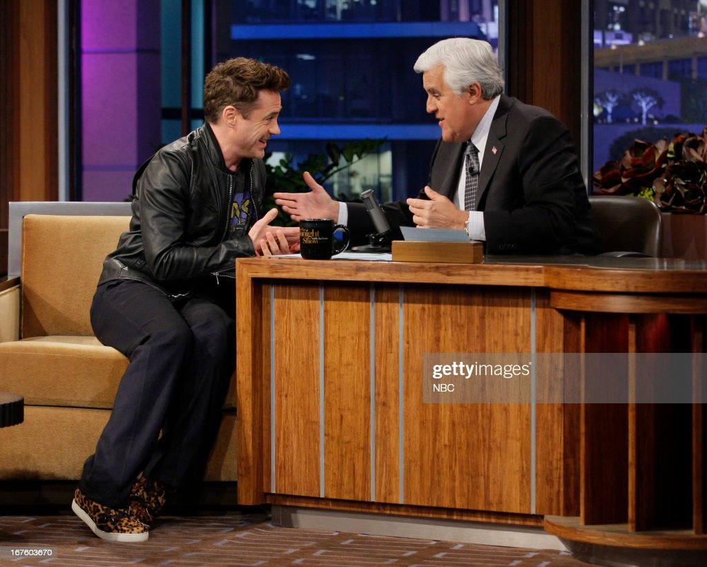 LENO -- (EXCLUSIVE COVERAGE) Episode 4445 -- Pictured: (l-r) Actor <a gi-track='captionPersonalityLinkClicked' href=/galleries/search?phrase=Robert+Downey+Jr.&family=editorial&specificpeople=204137 ng-click='$event.stopPropagation()'>Robert Downey Jr.</a> talks with host Jay Leno during a commercial break on April 26, 2013 --