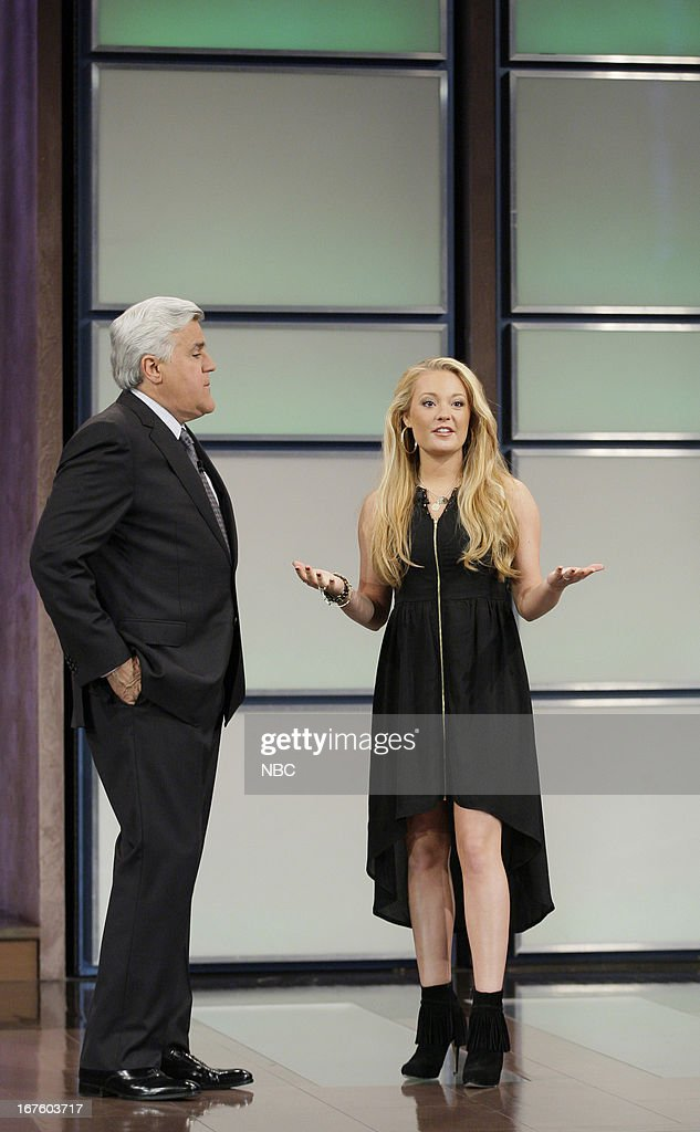 Host Jay Leno with American Idol castoff Janelle Arthur on April 26, 2013 --