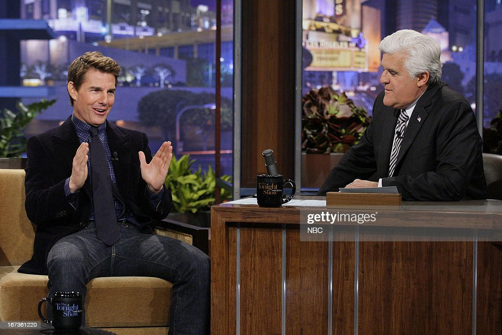 Actor <a gi-track='captionPersonalityLinkClicked' href=/galleries/search?phrase=Tom+Cruise&family=editorial&specificpeople=156405 ng-click='$event.stopPropagation()'>Tom Cruise</a> during an interview with host Jay Leno on April 24, 2013 --