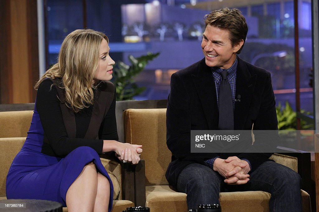 Actress Emily Blunt and actor Tom Cruise during an interview on April 24, 2013 --