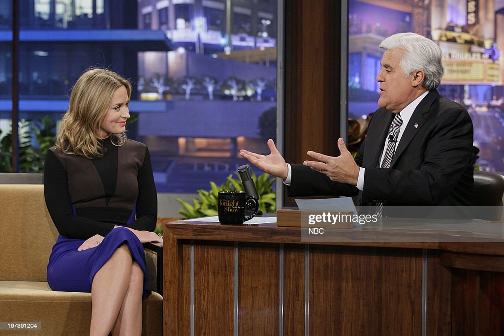 Actress Emily Blunt during an interview with host Jay Leno on April 24, 2013 --