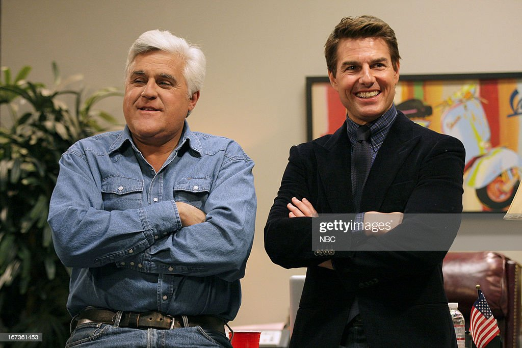 LENO -- (EXCLUSIVE COVERAGE) -- Episode 4447 -- Pictured: (l-r) Host Jay Leno and actor <a gi-track='captionPersonalityLinkClicked' href=/galleries/search?phrase=Tom+Cruise&family=editorial&specificpeople=156405 ng-click='$event.stopPropagation()'>Tom Cruise</a> during a pretaped segment on April 24, 2013 --