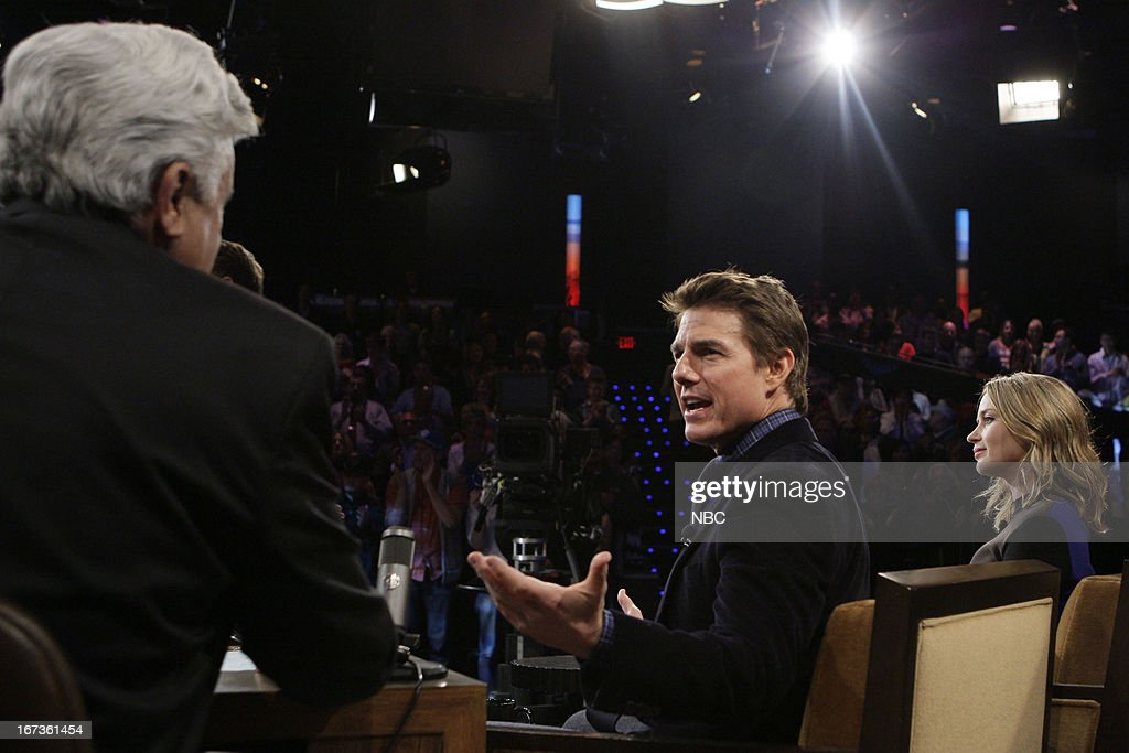 LENO -- (EXCLUSIVE COVERAGE) -- Episode 4447 -- Pictured: (l-r) Host Jay Leno talks with actor Tom Cruise and actress Emily Blunt during a commercial break on April 24, 2013 --