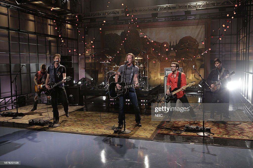 Brian Kelley, Tyler Hubbard of musical guests Florida Georgia Line perform on April 30, 2013 --