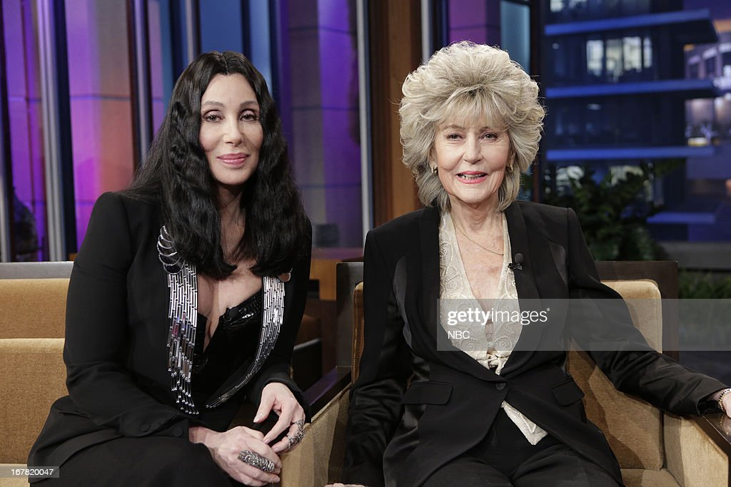 LENO -- (EXCLUSIVE COVERAGE) Episode 4451 -- Pictured: (l-r) Musicians <a gi-track='captionPersonalityLinkClicked' href=/galleries/search?phrase=Cher+-+Artieste&family=editorial&specificpeople=203036 ng-click='$event.stopPropagation()'>Cher</a>, <a gi-track='captionPersonalityLinkClicked' href=/galleries/search?phrase=Georgia+Holt&family=editorial&specificpeople=1064778 ng-click='$event.stopPropagation()'>Georgia Holt</a> during a commercial break on April 30, 2013 --