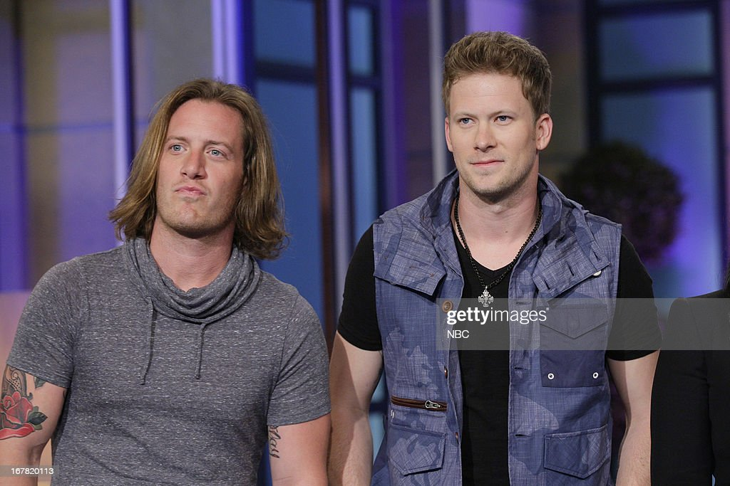 Tyler Hubbard, Brian Kelley of musical guests Florida Georgia Line onstage April 30, 2013 --