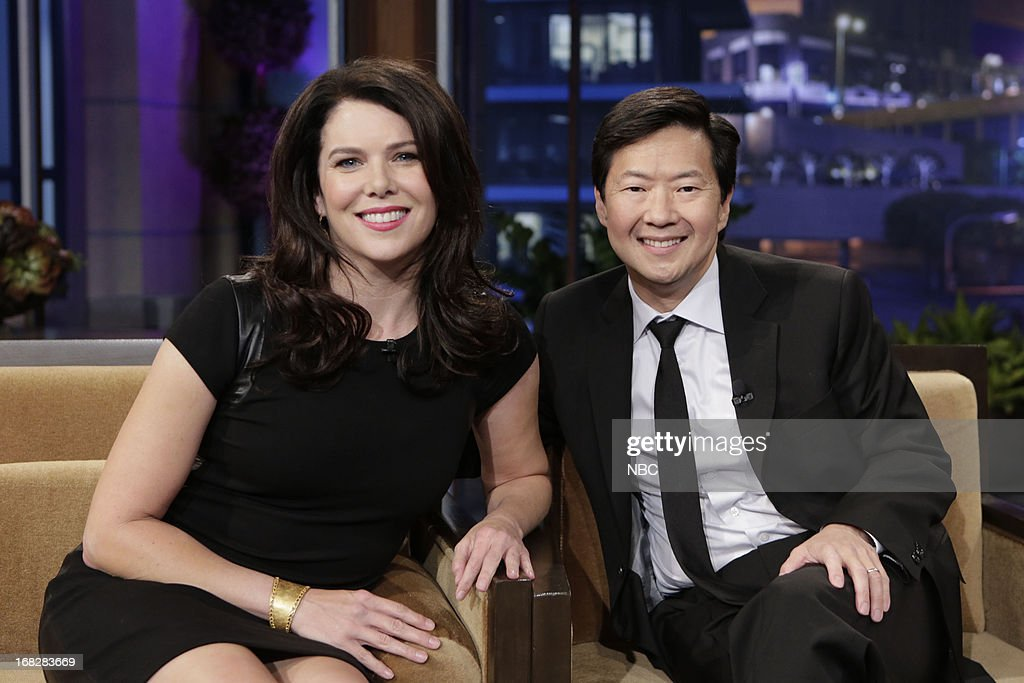 LENO -- (EXCLUSIVE COVERAGE) -- Episode 4456 -- Pictured: (l-r) Actress <a gi-track='captionPersonalityLinkClicked' href=/galleries/search?phrase=Lauren+Graham&family=editorial&specificpeople=206505 ng-click='$event.stopPropagation()'>Lauren Graham</a> and actor <a gi-track='captionPersonalityLinkClicked' href=/galleries/search?phrase=Ken+Jeong&family=editorial&specificpeople=4195975 ng-click='$event.stopPropagation()'>Ken Jeong</a> during a commerical break on May 7, 2013 --