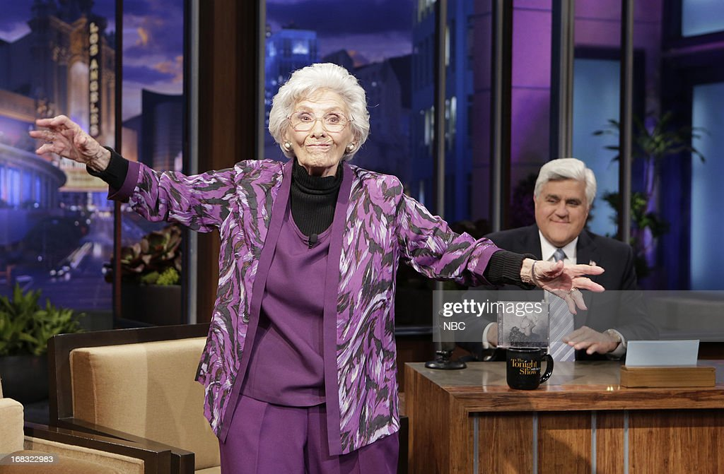 LENO -- (EXCLUSIVE COVERAGE) Episode 4457 -- Pictured: 100-Year-Old Actress Connie Sawyer dances during a commercial break on May 8, 2013 --