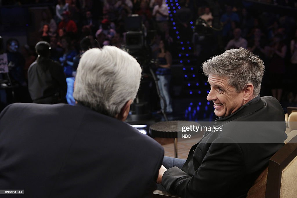 LENO -- (EXCLUSIVE COVERAGE) Episode 4457 -- Pictured: (l-r) Host Jay Leno talks with Talk Show host <a gi-track='captionPersonalityLinkClicked' href=/galleries/search?phrase=Craig+Ferguson+-+Talk+Show+Host&family=editorial&specificpeople=204509 ng-click='$event.stopPropagation()'>Craig Ferguson</a> during a commercial break on May 8, 2013 --