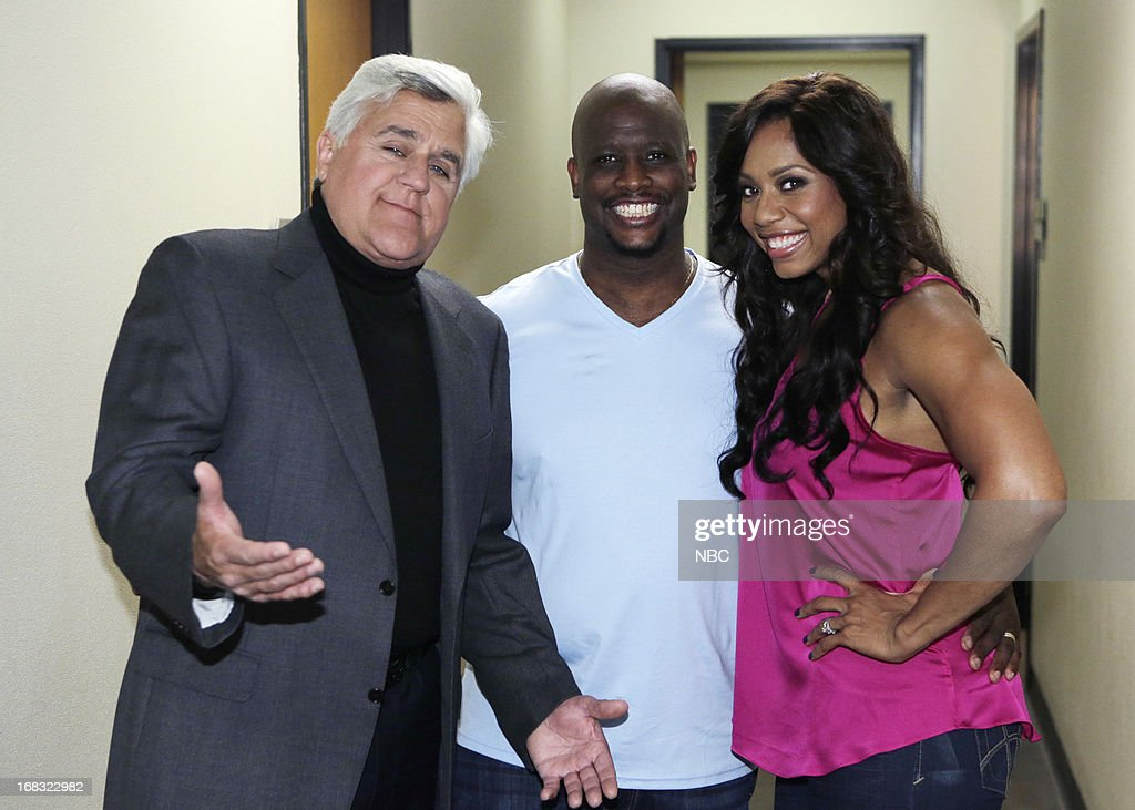 LENO -- (EXCLUSIVE COVERAGE) Episode 4457 -- Pictured: (l-r) Host Jay Leno with Will Sims and Monifa Sims backstage on May 8, 2013 --