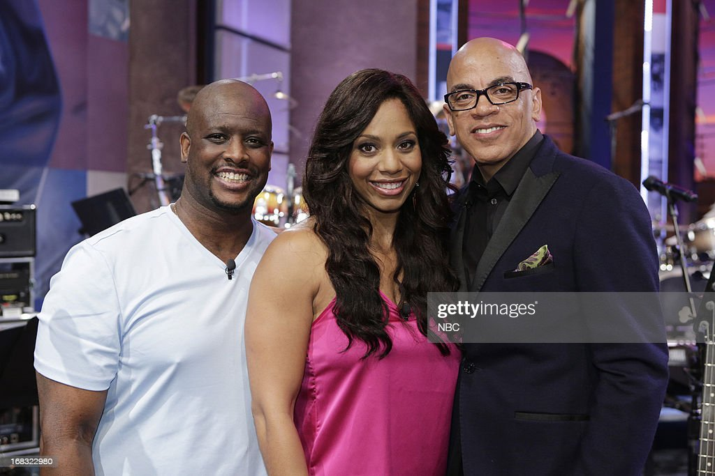 LENO -- (EXCLUSIVE COVERAGE) Episode 4457 -- Pictured: (l-r) Will Sims, Monifa Sims with bandleader Rickey Minor on May 8, 2013 --