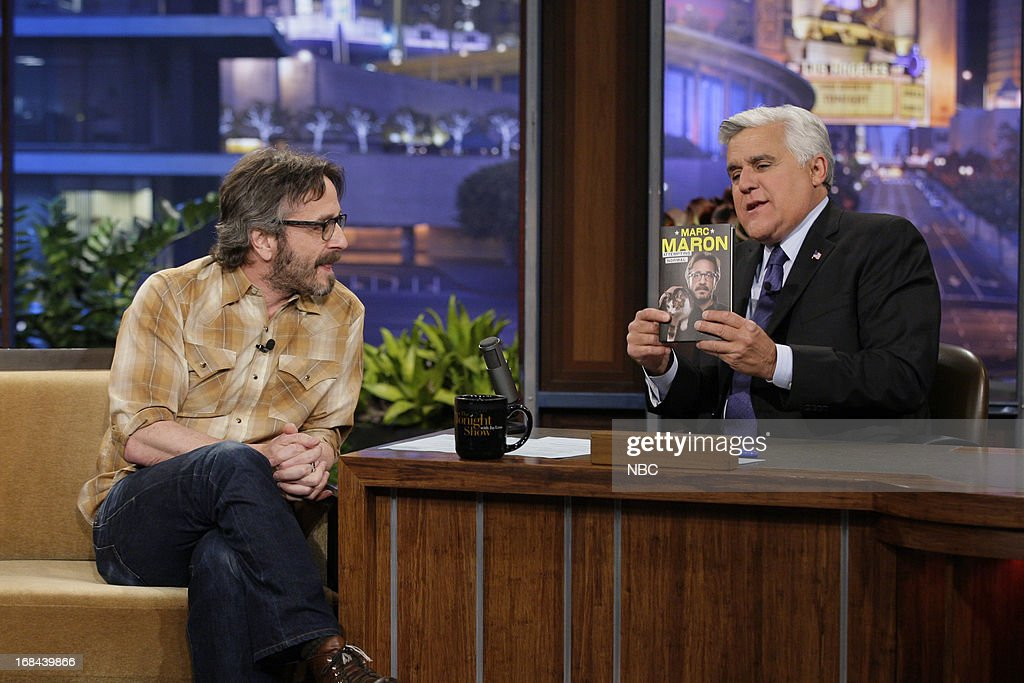 Comedian Marc Maron during an interview with host Jay Leno on May 9, 2013 --