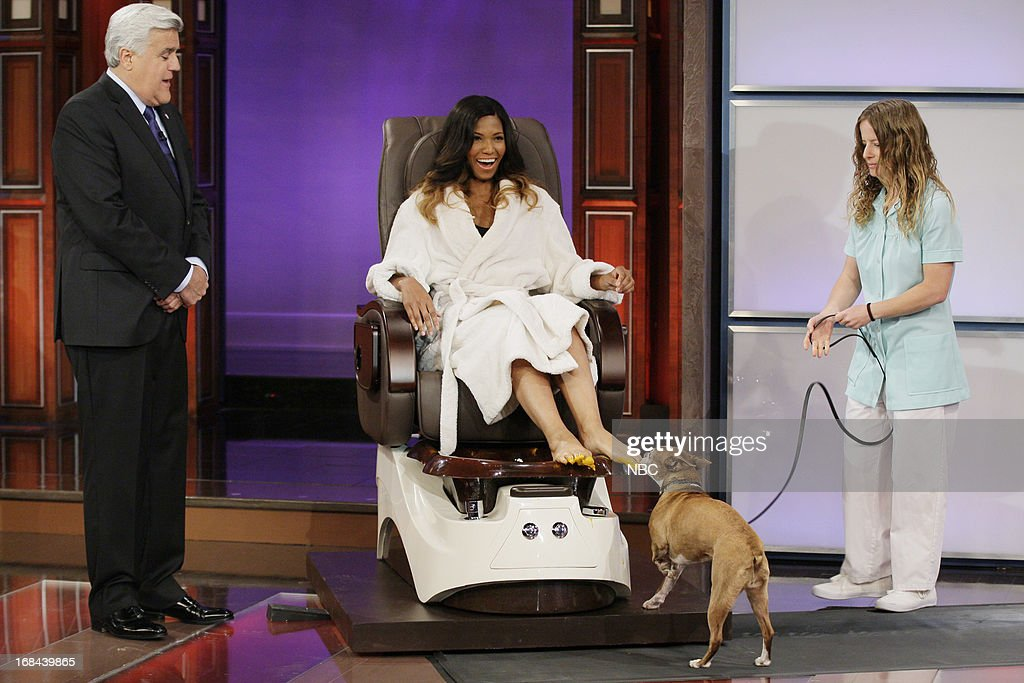 Host Jay Leno and model Nicole during a skit on May 9, 2013 --