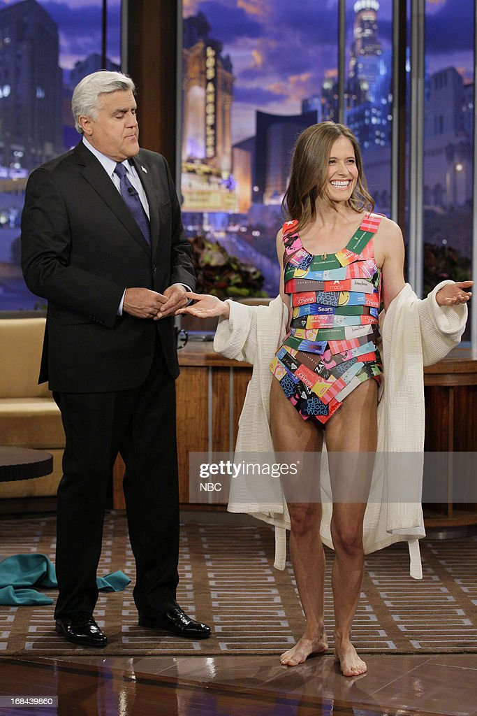 Host Jay Leno and model Taylor during a skit on May 9, 2013 --