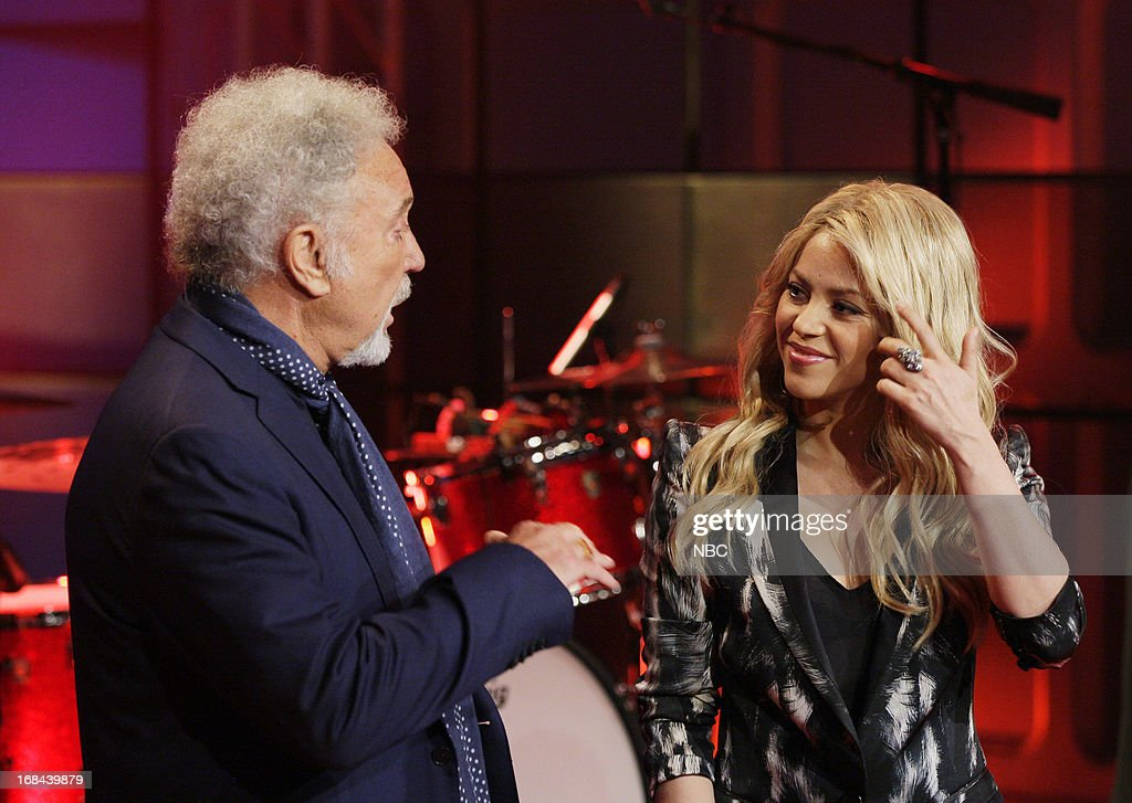 Musical guest Tom Jones talks with Singer Shakira on May 9, 2013 --