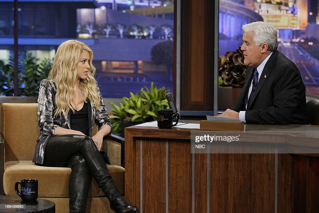 Singer Shakira during an interview with host Jay Leno on May 9, 2013 --