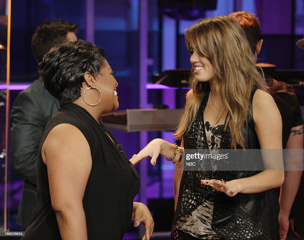 Comedian <a gi-track='captionPersonalityLinkClicked' href=/galleries/search?phrase=Sherri+Shepherd&family=editorial&specificpeople=693379 ng-click='$event.stopPropagation()'>Sherri Shepherd</a> talks with American Idol castoff Angie Miller on May 10, 2013 --