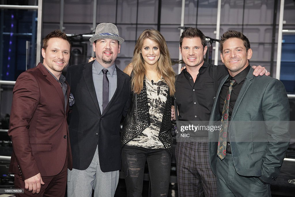 <a gi-track='captionPersonalityLinkClicked' href=/galleries/search?phrase=Drew+Lachey&family=editorial&specificpeople=550274 ng-click='$event.stopPropagation()'>Drew Lachey</a>, <a gi-track='captionPersonalityLinkClicked' href=/galleries/search?phrase=Justin+Jeffre&family=editorial&specificpeople=994982 ng-click='$event.stopPropagation()'>Justin Jeffre</a>, American Idol castoff Angie Miller, <a gi-track='captionPersonalityLinkClicked' href=/galleries/search?phrase=Nick+Lachey&family=editorial&specificpeople=201832 ng-click='$event.stopPropagation()'>Nick Lachey</a>, <a gi-track='captionPersonalityLinkClicked' href=/galleries/search?phrase=Jeff+Timmons&family=editorial&specificpeople=994981 ng-click='$event.stopPropagation()'>Jeff Timmons</a> of 98 Degrees on May 10, 2013 --