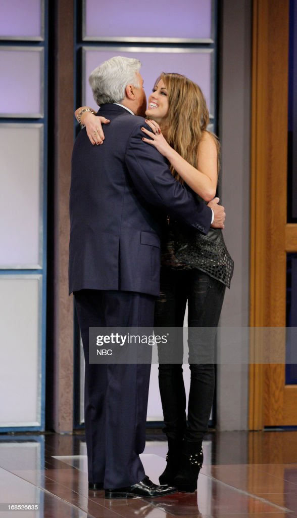 Host Jay Leno greets American Idol castoff Angie Miller on May 10, 2013 --