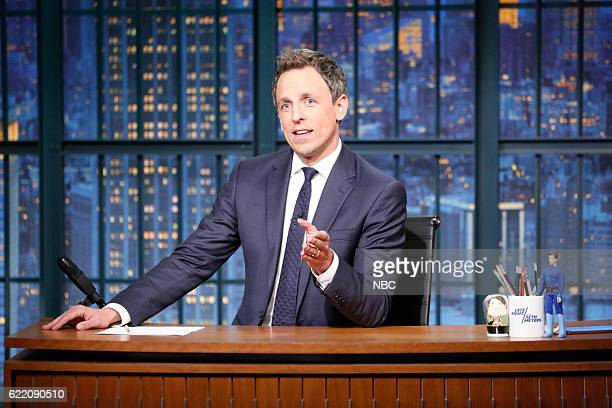Host Seth Meyers at his desk on November 9 2016