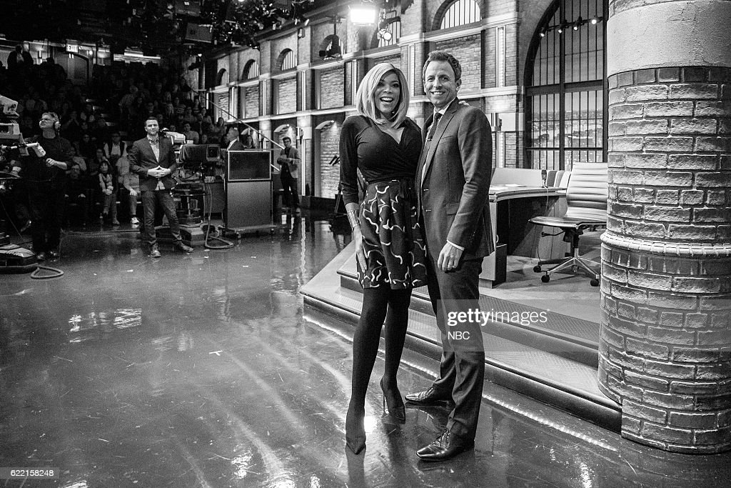 MEYERS -- (EXCLUSIVE COVERAGE) -- Episode 446 -- Pictured: (l-r) Wendy Williams and host Seth Meyers on November 9, 2016 --