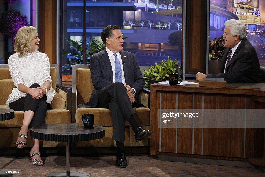 Ann Romney and husband, former governor Mitt Romney during an interview with host Jay Leno on May 17, 2013 --