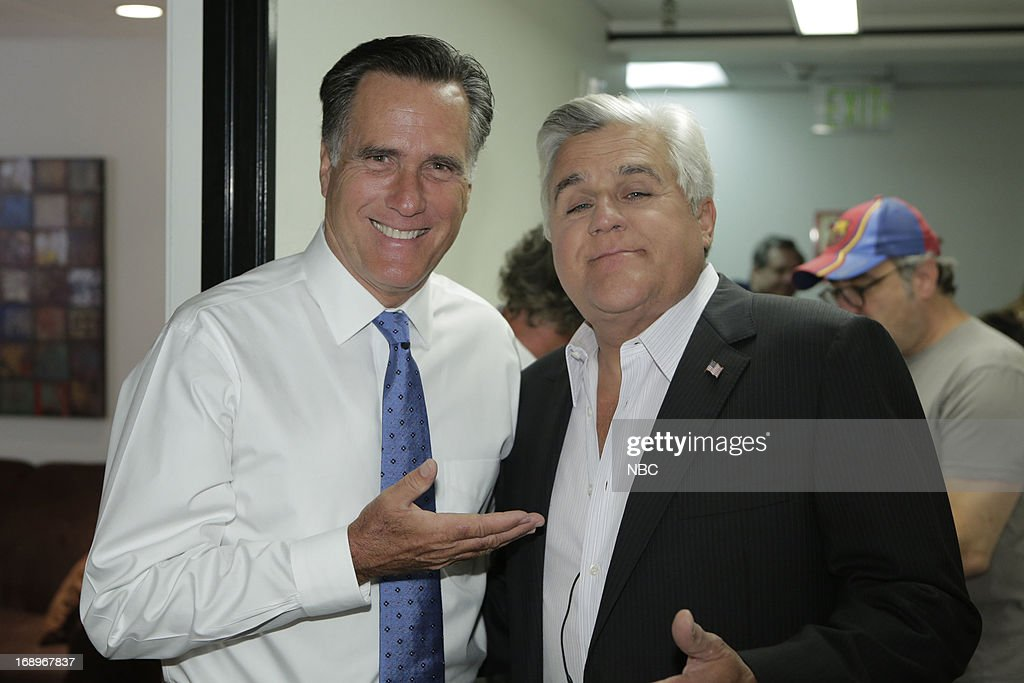 LENO -- (EXCLUSIVE COVERAGE) -- Episode 4464 -- Pictured: (l-r) Former governor <a gi-track='captionPersonalityLinkClicked' href=/galleries/search?phrase=Mitt+Romney&family=editorial&specificpeople=207106 ng-click='$event.stopPropagation()'>Mitt Romney</a> and host Jay Leno backstage on May 17, 2013 --