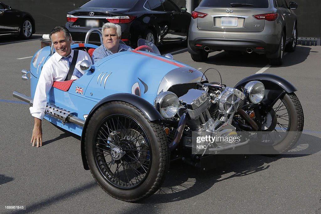 LENO -- (EXCLUSIVE COVERAGE) -- Episode 4464 -- Pictured: (l-r) Former governor Mitt Romney and host Jay Leno take a drive after a taping on May 17, 2013 --